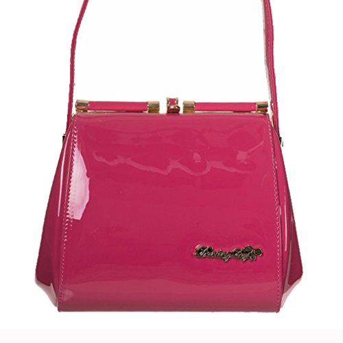 Dancing Days by Banned Rockabilly Damen Schultertasche - Good Omen Lack Tasche Pink