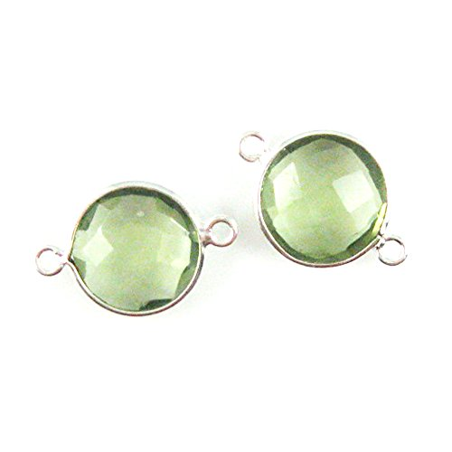 Bezel Gemstone Connector - Sterling Silver - 12mm Faceted Coin Shape Charm - Green Amethyst Quartz (Sold Per 2 Pieces) (Quartz Faceted Coin)