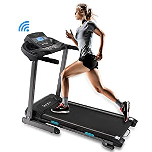 SereneLife Foldable Digital Home Gym Treadmill | Smart Auto Incline Exercise Machine with Downloadable App | Large Running Treadmill with MP3 Player & Stereo Speakers | 2.5HP, 10MPH Speed – SLFTRD35