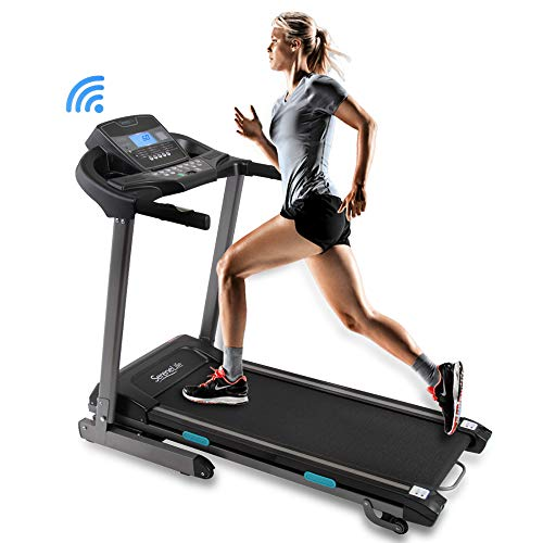 SereneLife Foldable Digital Home Gym Treadmill | Smart Auto Incline Exercise Machine With Downloadable App | Large Running Treadmill With MP3 Player & Stereo Speakers | 2.5HP, 10MPH Speed