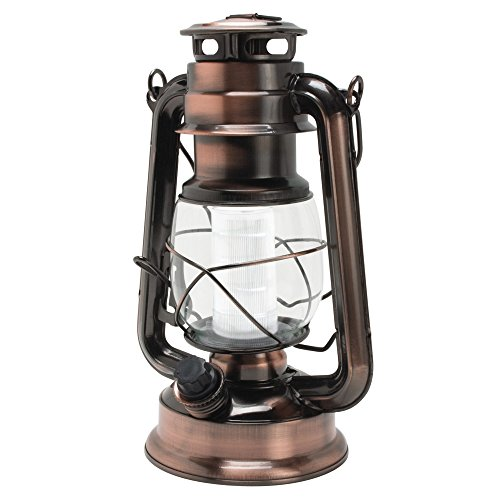 Northpoint Vintage Style Copper Hurricane Lantern with 12 LED's and 150 Lumen Light Output and Dimmer switch, Battery Operated Hanging Lantern for Indoors and Outdoor Usage]()