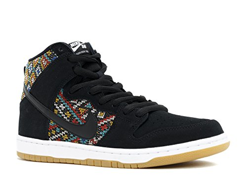 NIKE Dunk HIGH Premium SB Mens Skateboarding-Shoes 313171-030_7 - Black/Black-Rio Teal-White