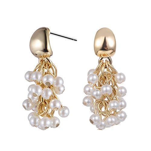 XZP Women's Beaded Chandelier Drop Earrings Beads Cluster Dangle Earring for Women(Gold Plated)