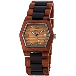 Tense Mens 6-Sided Wooden Watch Two-Tone Date Window G8300SD LF (Light Face)