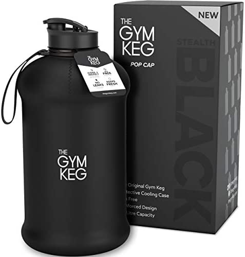 Jungle Sports Water Bottle /& FREE Insulated Protective Case 2.2 Litre Capacity with Handle Safe /& BPA Free Plastic Durable Jug for Gym Travel Training Hiking Office /& School
