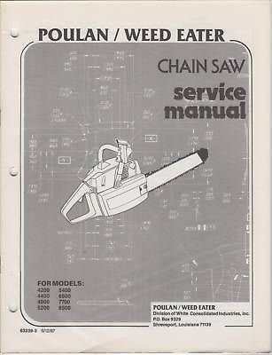 1987 POULAN WEEDEATER CHAIN SAW SERVICE MANUALS