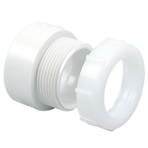 "NIBCO 4801-7 Series PVC DWV Pipe Fitting, Adapter, 1-1/2"" Hub x 1-1/4"" Slip Joint"