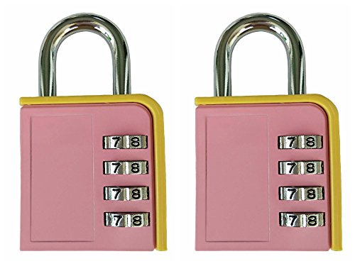 L-Anan Combination Lock 4 Digit Padlock for School Gym Locker, Sports Locker, Fence, Toolbox, Case, Hasp Storage (2 Pack Pink and Yellow) by L-Anan