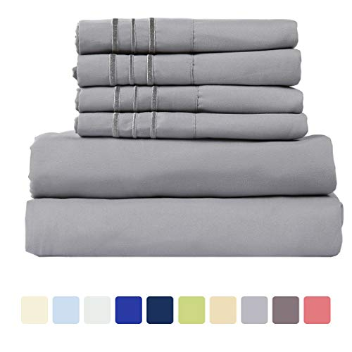 WARM HARBOR Microfiber Sheet Set Super Soft 1800 Thread Count Deep Pocket Bed Sheets Wrinkle, Fade, Stain Resistant Hypoallergenic -6 Piece(Grey, Cal (Cal King 6 Piece Bedding)