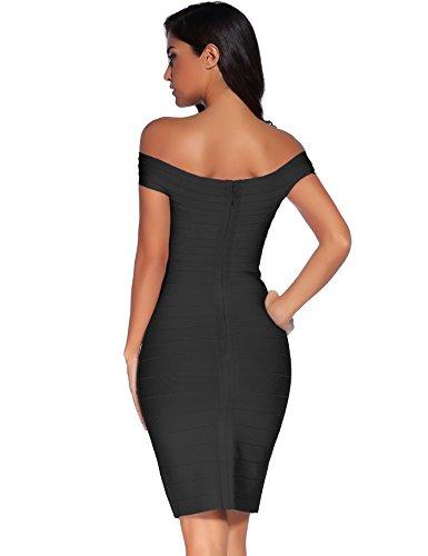 Meilun Sangle De Rayonne De Femmes V-cou Sexy Mini-robe Bandage Moulante Noir 2