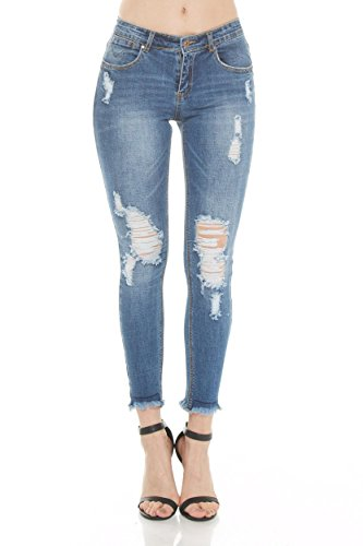 MADRACK213 Women's Distressed Destroyed Ripped Slashed Slit Knee Skinny Jeans with frayed hem (9, MD - Philipp Lim
