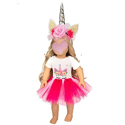 Barbie Band - J&C Dolls Unicorn Clothes Little Girl Party Accessories for 18 Inch Barbie Dolls Jumpsuit Rainbow Tutu Dress Flower Headband 3pc/Set