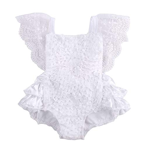 - Newborn Baby Girl Cake Smash Outfit One Piece Lace Sleeveless Backless Tutu Bodysuit Romper Clothes 6-9 Months