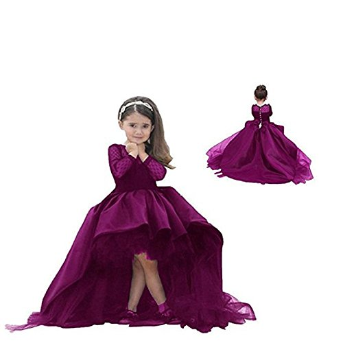 Toddler Gowns (Helen Hi-lo Flower Girls Dresses for Weddings Pageant Toddler Gowns 110)