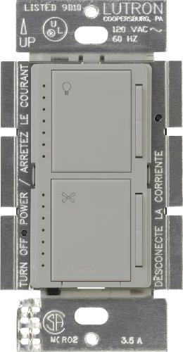 Lutron MA-LFQM-GR Maestro 300-Watt Multi-Location Digital Dimmer 1-Amp Quiet Fan Control with Canopy Module, Gray