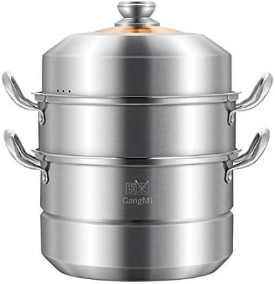 YUXUANCIXIU-R スチーマーホーム小304ステンレス鋼28センチメートルスリー3レイヤ大スチーマー蒸しパン炊飯器ガスストーブユニバーサル 蒸し器、鍋 (Color : Metallic, Size : 32cm)