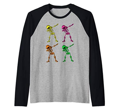 80's Retro Dabbing Skeleton Halloween Raglan Baseball ()
