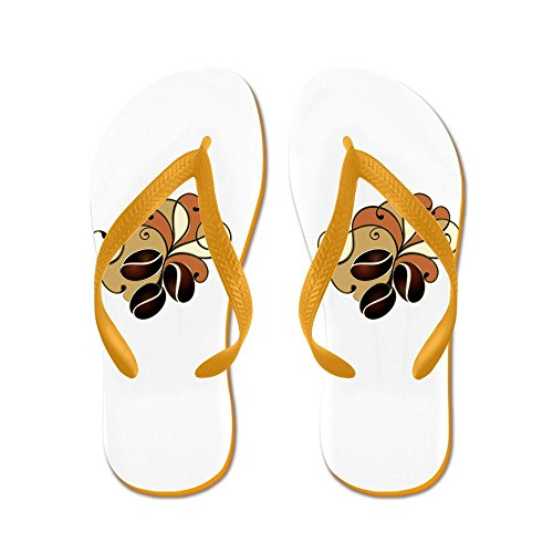 Truly Teague Mens Coffee Bean Floral Rubber Flip Flops Sandals Orange YEir1slnV