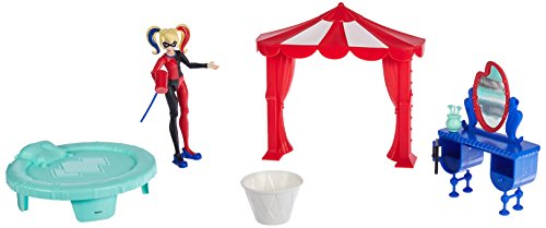 DC Super Hero Girls Poison Harley Quinn Figure Bedroom Set, 6