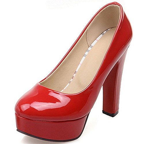 Platform Block Pumps Women LongFengMa Round Shoes Party High Heels Red Toe Heeled y7wS5q4Y5