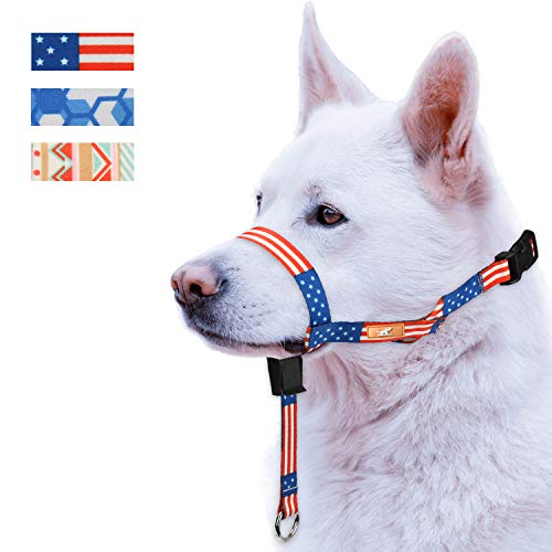 Colorful Dog Head Collar with 3 Beautiful Designs, Head Harness Stops Dog Pulling, Head Leash(L,America Flag)