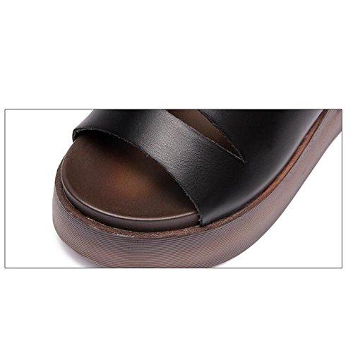 Femmes Chaussures Été Noir 5 couleur Cool Uk5 Femmes Cn38 Haizhen Les Sandales Eu38 Blanc Taille Pantoufles Noir Pour Blanc Femme Sandales Épais 5cm Occasionnels EXxfZqaw