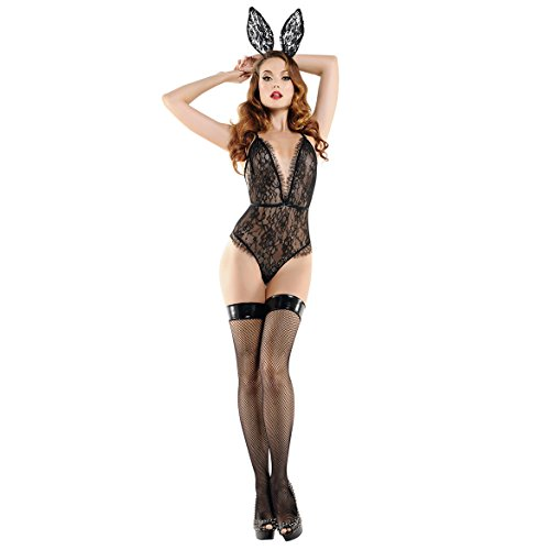 Women Sexy Bunny Costume Lace Bodysuit Rabbit Outfit Lingerie Set with Bunny Ears Black -