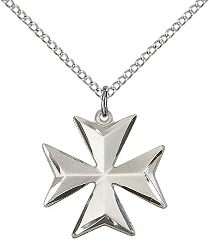 Sterling Silver Maltese Cross Pendant with 18