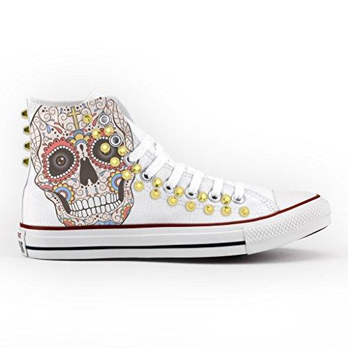 Converse All Star Personalizzate borchiate oro - scarpe artigianali - new mexican skull