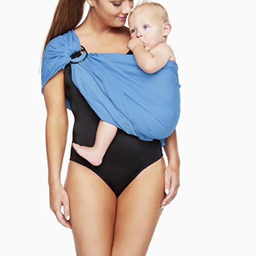Breathable Baby Wrap Water METAL Ring Sling Carrier Infant Wrap Toddlers.Baby Shower Gift with Polyester and Quickdry Fabrics Material to Indoor Outdoor Travel Comfort for Newborn. (Sky Blue)
