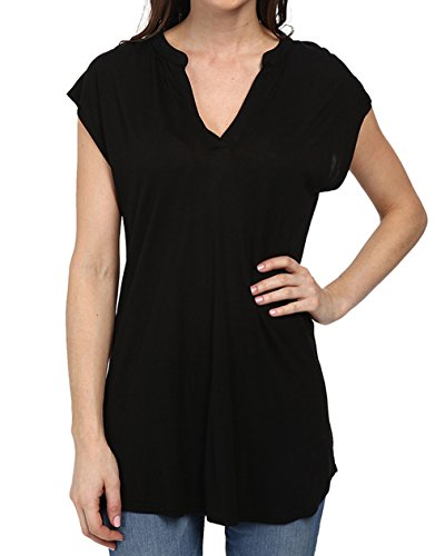Women's Summer Cap Sleeve V Neck Hi Low Blouse Plain Jersey T Shirt Tops (XL/US 16, Black)