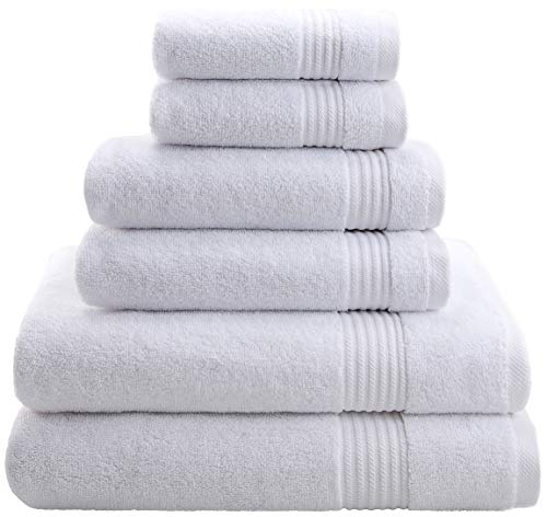 Hotel & Spa Quality, Absorbent and Soft Decorative Kitchen and Bathroom Sets, Cotton, 6 Piece Turkish Towel Set, Includes 2 Bath Towels, 2 Hand Towels, 2 Washcloths, Snow White from Cotton Paradise