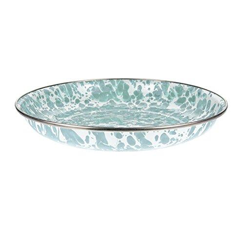 Enamelware - Sea Glass Teal Swirl Pattern - 10 Inch Pasta Plate