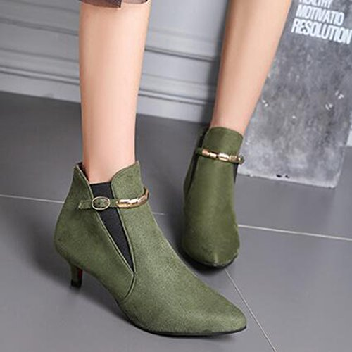 Stylish Medium Booties Women's Green Pointed Side Kitten Toe Buckled Frosted Ankle Heel Aisun Belt g154qw6wx