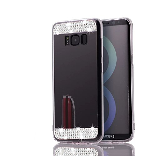 Samsung Galaxy S8 Bling Diamond Mirror Glass Cover-Auroralove Black Beauty Funny Soft Slim Shiny Rhinestone Flexible Glass Mirror Cover for Samsung - Diamond Rings Glass Black
