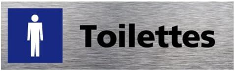 Plaque de Porte Toilettes Hommes Dimensions 170 x 50 mm Double Face Adh/ésif au Dos Aluminium Bross/é Inoxydable Pictogramme Bleu