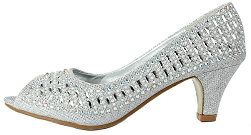 Pumps Glitter Heel Glitter Women Dress Rhinestone Mid Formal Sparkle Kitten Silver Wedge Comfort ZCfqZSRw