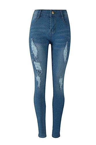 Des blue Haute Taille Des Serrs Jeans Pantalons tTwWSOPqg