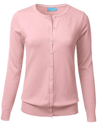FLORIA Women's Button Down Crew Neck Long Sleeve Soft Knit Cardigan Sweater Dustypink S ()