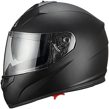 Triangle Full Face Motorcycle Helmets Dual Visor Street Bike (X-Large, Matte Black)