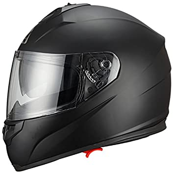 Full Face Black Dual Visera Casco para moto de bicicleta de Street by Triangle [Dot