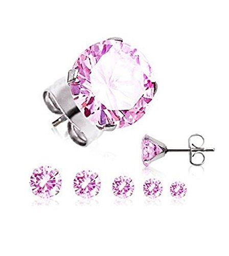 Surgical Stainless Steel Studs Earrings For Men Women boys Girls with Round Clear or Black CZ Cubic Zirconia Hypoallergenic Earrings (6 MM PINK)
