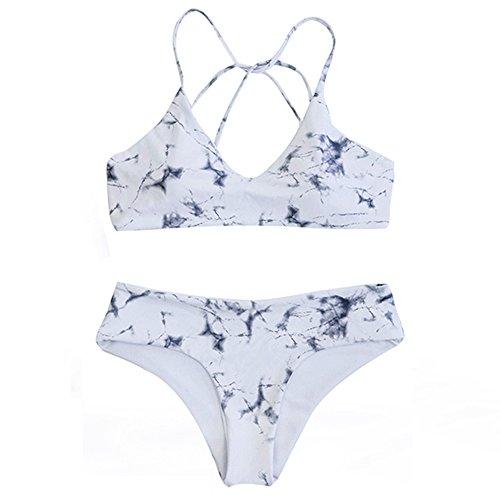 DaiLiWei 2 Pcs Marble Print Cross Back Top Bottom Double Side Swim Wear Women Bikini Sets, White 2, - Triangle Swimsuit