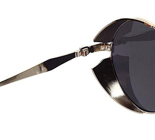 sol no Women tallado marco UV400 Steampunk polarizado Men Vintage de amp; redondo Gris Plateado Retro Reflectante gafas RzxOwY
