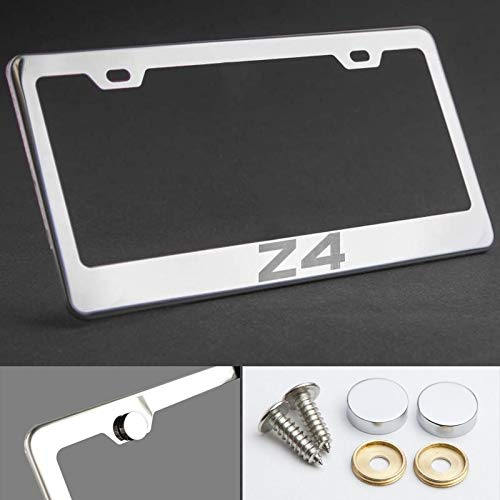 UFRAME 100% Stainless Steel License Plate Frame for BMW Z4 with Real Laser Engraving on Chrome Mirror Finished Surface