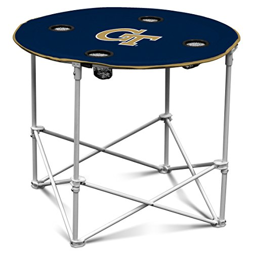 Logo Brands Georgia Tech Yellow Jackets Collapsible Round Table with 4 Cup Holders and Carry Bag