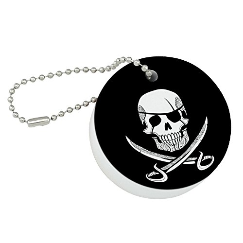 (Graphics and More Pirate Skull Crossed Swords Tattoo Design Round Floating Foam Fishing Boat Buoy Key Float Keychain)