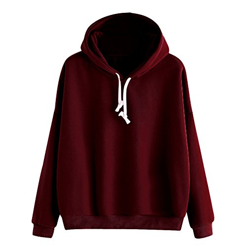 Casual Hooded Sweatshirt for Women Ladies Solid Tops Long Sleeve Pullover ()