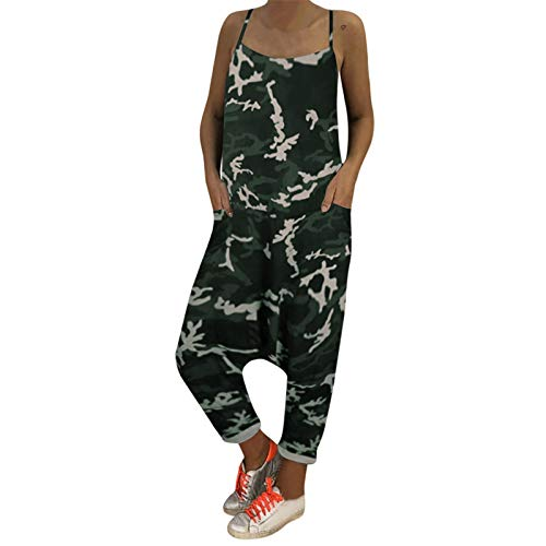 Thenxin Women Camouflage Overalls Tie Straps Dungarees Harem Pants Baggy Long Casual Jumpsuit(Black,XXL)