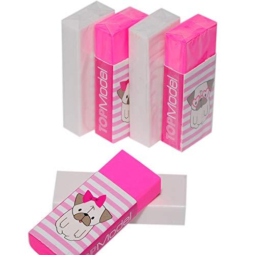 (Wekoil Pack 6 Soft Plastic Vinyl Eraser Color Assorted Block Eraser latex free Pencil Eraser for Drawing, Sketch, Writing,White-Pink Erasers Set)